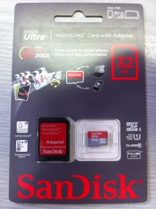 SanDisk MicroSD card for GoPro HD 3 Black Edition